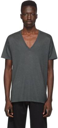 Frenckenberger Grey Cashmere V-Neck T-Shirt