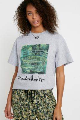 Urban Outfitters Monet Watercolour T-Shirt - grey XS at