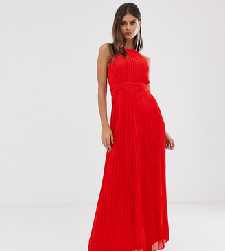 TFNC high neck pleated maxi dress in red