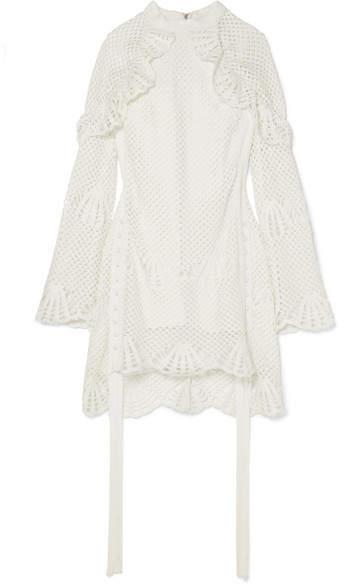 Self-Portrait Macramé Lace-trimmed Crochet-knit Mini Dress - Ivory