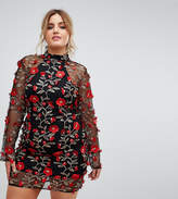 Club L Plus High Neck Red Rose Embroidered Dress