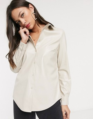 New Look leather look shirt in cream