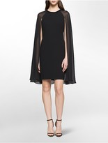 Calvin Klein Chiffon Cape Beaded Cocktail Dress