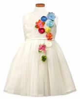 Sorbet Toddler Girl's Flower Applique Tulle Party Dress