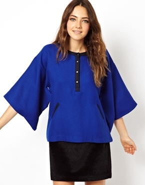 Asos Shell Top With Kimono Sleeve And Contrast Details - Blue