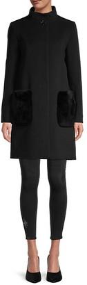 Cinzia Rocca Virgin-Wool Cashmere Rabbit Fur Patch Pocket Coat