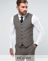 Heart & Dagger Slim Vest In Herringbone Tweed