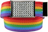 Build A Belt Girl's School Uniform Sparkly Crystal Flip Top Belt Buckle with Canvas Web Belt Medium