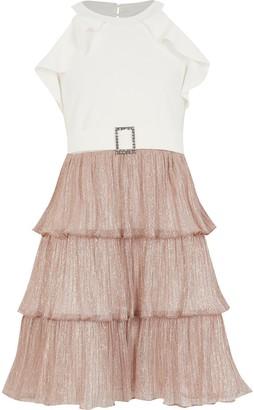 River Island Girls rose Gold plisse ruffle halter dress