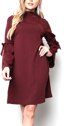Milly Penzance Women's Casual Dresses burgundy - Burgundy Tie-Sleeve Shift Dress - Women & Plus