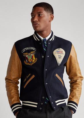 Ralph Lauren Leather-Sleeve Baseball Jacket