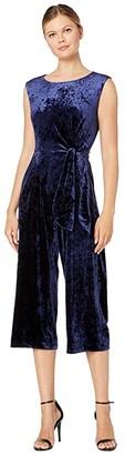 Tahari ASL Stretch Crinkle Velvet Cropped Side Tie Jumpsuit (Navy) Women's Jumpsuit & Rompers One Piece