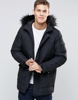 Asos Parka Jacket With Faux Fur Trim In Black