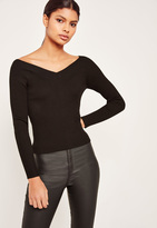 Missguided Black Off Shoulder Skinny Ribbed Cropped Sweater