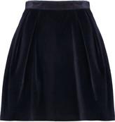 MSGM Pleated stretch-cotton velvet mini skirt