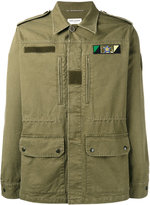 Saint Laurent Sweet Dreams shark patch military jacket - men - Cotton/Ramie/Lamb Skin/Polyurethane - 44