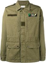 Saint Laurent Sweet Dreams shark patch military jacket - men - Cotton/Ramie/Lamb Skin/Polyurethane - 50