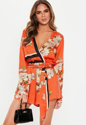 Missguided Red Border Print Long Sleeve Romper