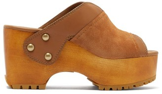 See by Chloe Suede-trimmed Platform Leather Clogs - Womens - Tan