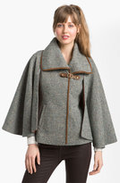 GUESS Leather Trim Tweed Cape