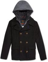 Hawke & Co Boys' Layered-Look Hooded Vestee Wool Pea Coat