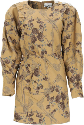 Ganni MINI DRESS IN JACQUARD BROCADE 36 Brown, Beige