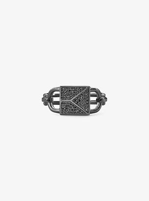 Michael Kors Black Rhodium-Plated Sterling Silver Pave Oversized Mercer Lock Cocktail Ring