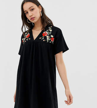 Asos Tall DESIGN Tall embroidered ultimate cotton smock dress-Black