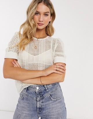 Vero Moda top with cutwork lace in cream