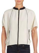 Lafayette 148 New York Amari Stand Collar Short Sleeve Silk Top