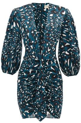 Alexandre Vauthier Leopard-print Silk-blend Satin Mini Dress - Womens - Blue Print