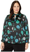 Vince Camuto Specialty Size Plus Size Long Sleeve Floral Lagoon Twist Neck Blouse (Rich Black) Women's Clothing