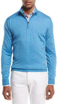 Isaia Cashmere-Blend Half-Zip Pullover Sweater, Light Gray