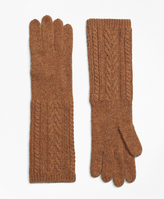 Brooks Brothers Camelhair Cable Knit Opera Gloves