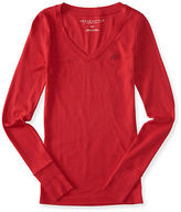 Aeropostale Womens Long Sleeve A87 Ribbed V-Neck Tee Shirt