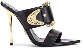 Versace Buckle Heels in Black & Gold | FWRD