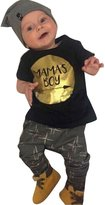 E-SHA Newborn Baby Boy Clothing Set Summer Mama's Boy T shirt Harem Pants Outfit Set