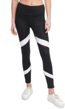 Calvin Klein Colorblocked Mesh-Trimmed High-Waist Leggings