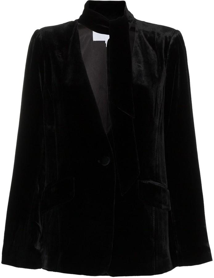 Frame Tie Neck Collarless Silk Blend Velvet Blazer