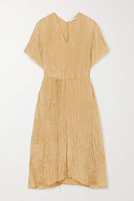 Vince Belted Crinkled-satin Midi Dress - Sand