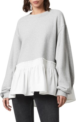 AllSaints Nio Ruffle Hem Cotton Top