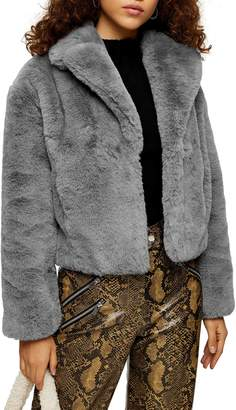 Topshop Faux Fur Crop Jacket