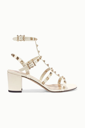 Valentino Garavani The Rockstud 60 Patent-leather Sandals - Ivory