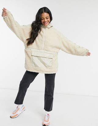 ASOS DESIGN fleece panelled tech jacket in cream