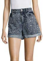 Alice + Olivia Kenda Embellished High-Rise Denim Shorts