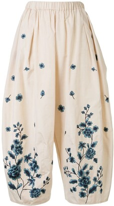 Biyan Pryn floral-embroidered wide-leg trousers