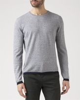 M.STUDIO Mottled-Blue Lou Two-Tone Cotton Linen Sweater