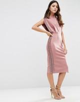 Asos Embellished Trim Open Top Midi Bodycon Dress