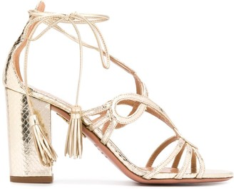 Aquazzura Gitana 85mm metallic sandals