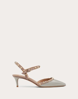 Valentino Rockstud Patent Leather Ankle Strap Slingback Pump 50 Mm Women Grey Lambskin 100% 35